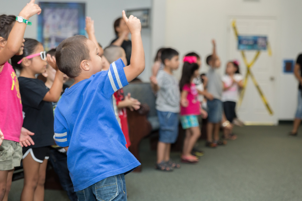 Children dancing to VBS soundtrack